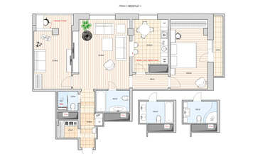 Перепланировка трехкомнатной квартиры, м. Парк Победы