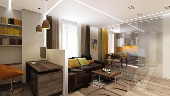 3D-визуализация гостиной в квартире на проспекте Вернадского - 1