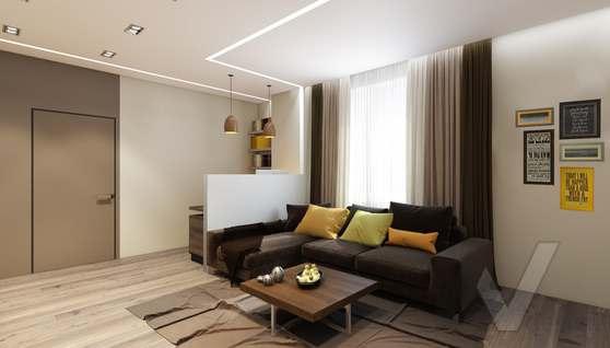 3D-визуализация гостиной в квартире на проспекте Вернадского - 2