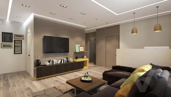 3D-визуализация гостиной в квартире на проспекте Вернадского - 3