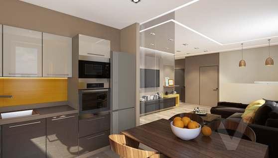 3D-визуализация кухни в квартире на проспекте Вернадского - 1