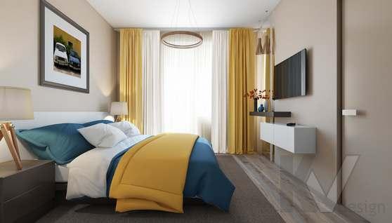 3D-визуализация спальни в квартире на проспекте Вернадского - 1