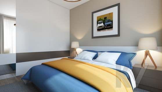 3D-визуализация спальни в квартире на проспекте Вернадского - 2