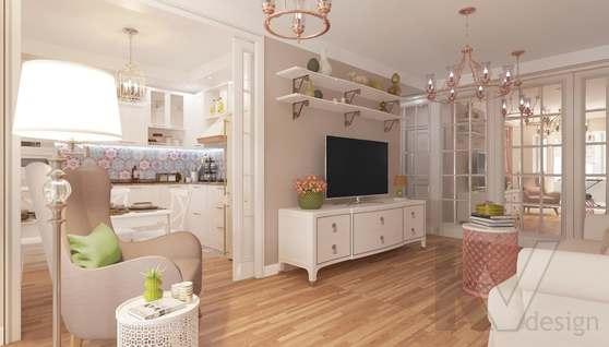 дизайн гостиной-кухни в 3-комн. квартире башни Вулыха - 4