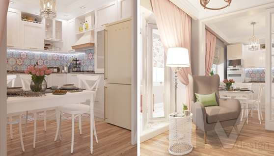 дизайн гостиной-кухни в 3-комн. квартире башни Вулыха - 6