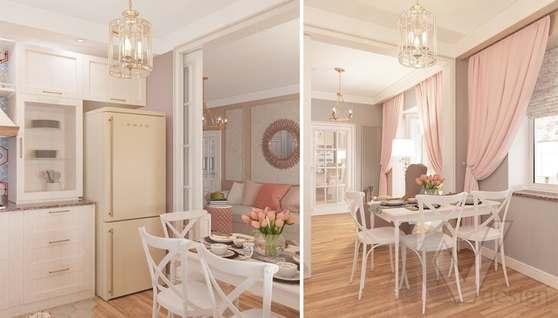 дизайн гостиной-кухни в 3-комн. квартире башни Вулыха - 8
