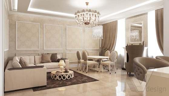 Дизайн гостиной-кухни в доме 500 кв.м., Поведники - 1