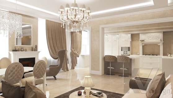 Дизайн гостиной-кухни в доме 500 кв.м., Поведники - 2
