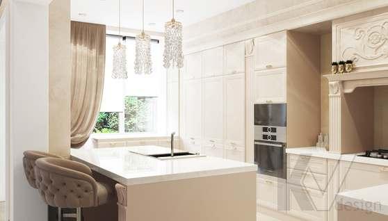Дизайн гостиной-кухни в доме 500 кв.м., Поведники - 3