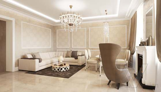Дизайн гостиной-кухни в доме 500 кв.м., Поведники - 4