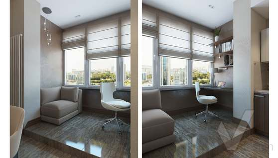 Дизайн гостиной-кухни в двухкомнатной квартире, ЖК Розмарин