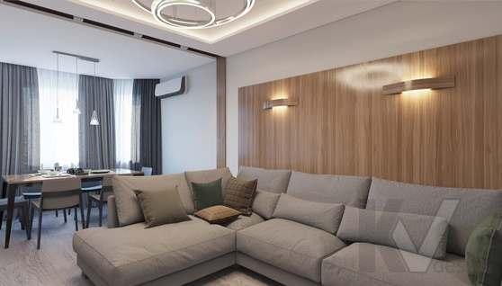 дизайн гостиной в 3-комн. квартире, Москворечье - 1