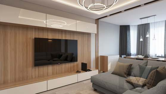 дизайн гостиной в 3-комн. квартире, Москворечье - 2