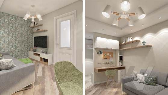 дизайн гостиной в 3-комнатной квартире II-68 - 7