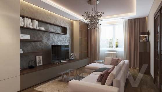 Дизайн гостиной в двухкомнатной квартире, ЖК Розмарин - 1