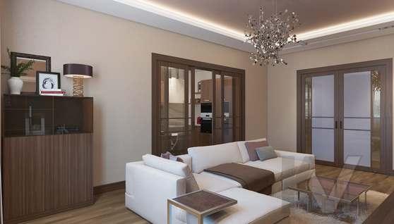 Дизайн гостиной в двухкомнатной квартире, ЖК Розмарин - 3