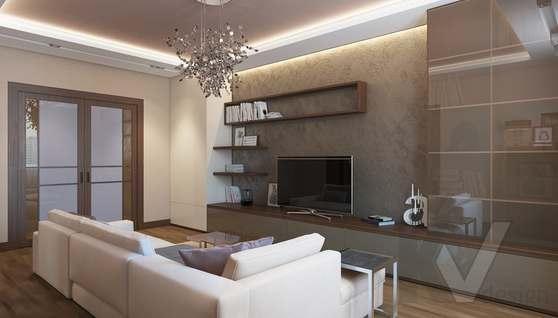 Дизайн гостиной в двухкомнатной квартире, ЖК Розмарин - 4
