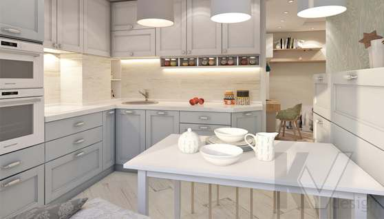 дизайн кухни в 3-комнатной квартире II-68 - 1