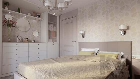дизайн спальни в 3-комнатной квартире II-68 - 2