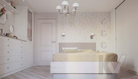 дизайн спальни в 3-комнатной квартире II-68 - 3
