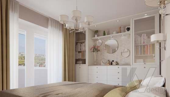 дизайн спальни в 3-комнатной квартире II-68 - 4