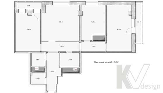 Обмерный план 3-х комнатной квартиры