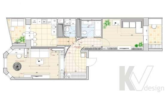 Перепланировка 2-х комнатной квартиры, Подольск, итоговый вариант
