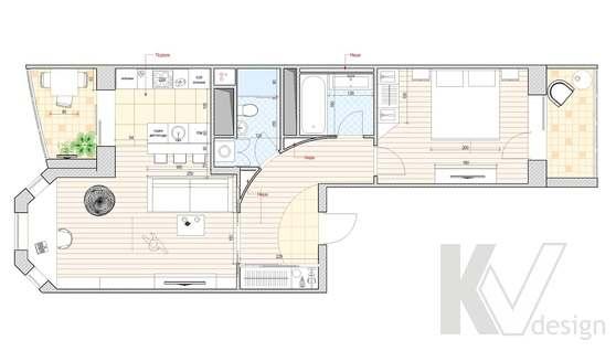 Перепланировка 2-х комнатной квартиры, Подольск, вариант 1