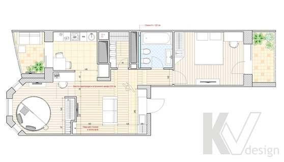 Перепланировка 2-х комнатной квартиры, Подольск, вариант 2
