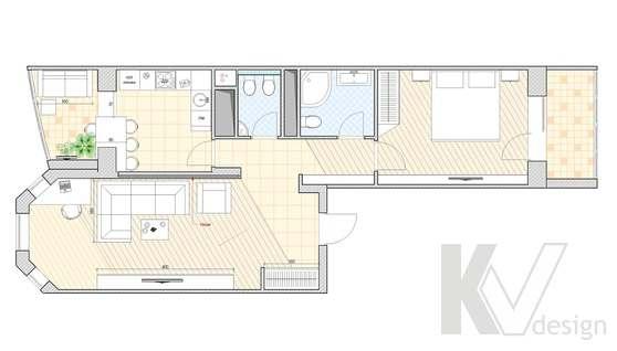 Перепланировка 2-х комнатной квартиры, Подольск, вариант 3