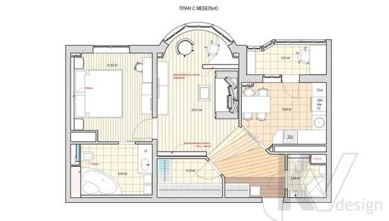Перепланировка 2-комнатной квартиры И-155