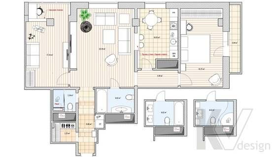 Перепланировка 3-х комнатной квартиры, вариант 1
