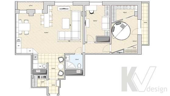 Перепланировка 3-х комнатной квартиры, вариант 2