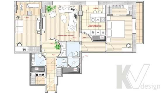 Перепланировка 3-х комнатной квартиры, вариант 3