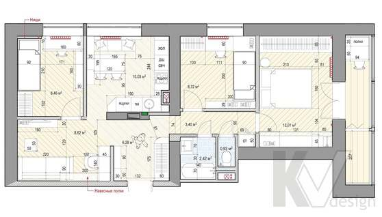 Перепланировка 3-комнатной квартиры II-68