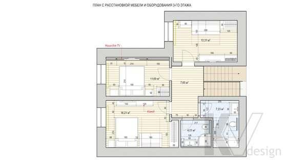 Перепланировка четвертого этажа дома в доме 500 кв.м., Поведники