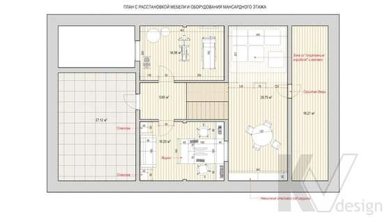Перепланировка пятого этажа дома в доме 500 кв.м., Поведники