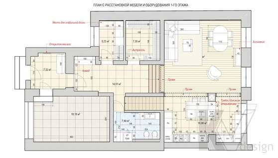 Перепланировка второго этажа дома в доме 500 кв.м., Поведники