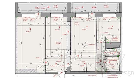 Планировка 3-комнатной квартиры башни Вулыха