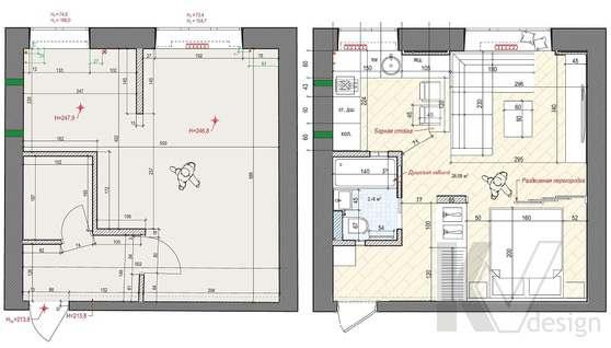 Планировка и переустройство 1-комнатной квартиры, Красная Пресня