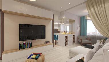 Проект трехкомнатной квартиры 90 кв.м. в ЖК «Ромашково»