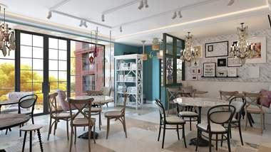Дизайн интерьера кафе в Одинцово, ЖК «Да Винчи»