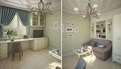 Бирюзовые обои в интерьере гостиной, Коломенская