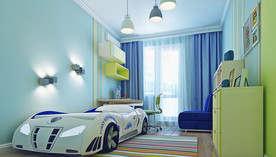 Бирюзовый цвет в интерьере объединенной квартиры П-3М
