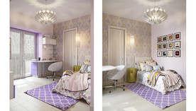 Сиреневый цвет в интерьере спальни, Савеловская