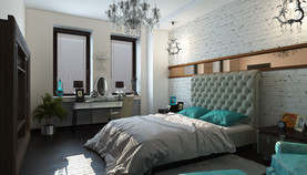 Кирпичная стена в спальне в стиле буржуазного лофта