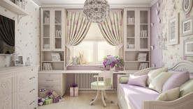 Сиреневые обои в интерьере детской, квартира на м. Коломенская