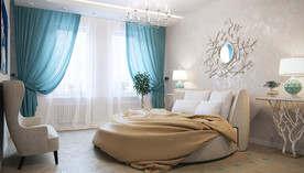 Голубой цвет в интерьере спальни таунхауса, Павлово