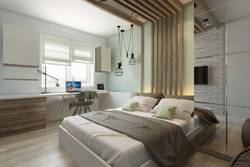 Деревянные рейки в современной спальне