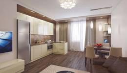 Деревянные панели на всю стену в интерьере гостиной, Некрасовка